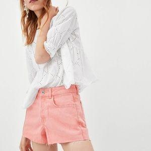 Zara cut off jean shorts in faded light pink